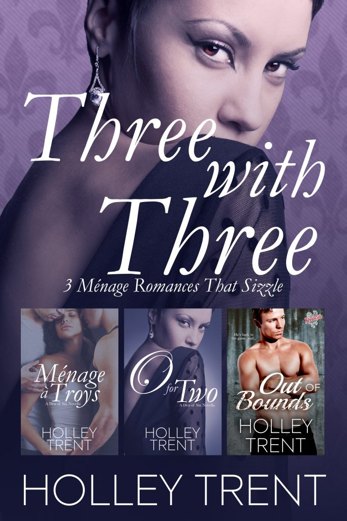 Three with Three cover features thumbnails of covers of Menage a Troys, O for Two, and Out of Bounds