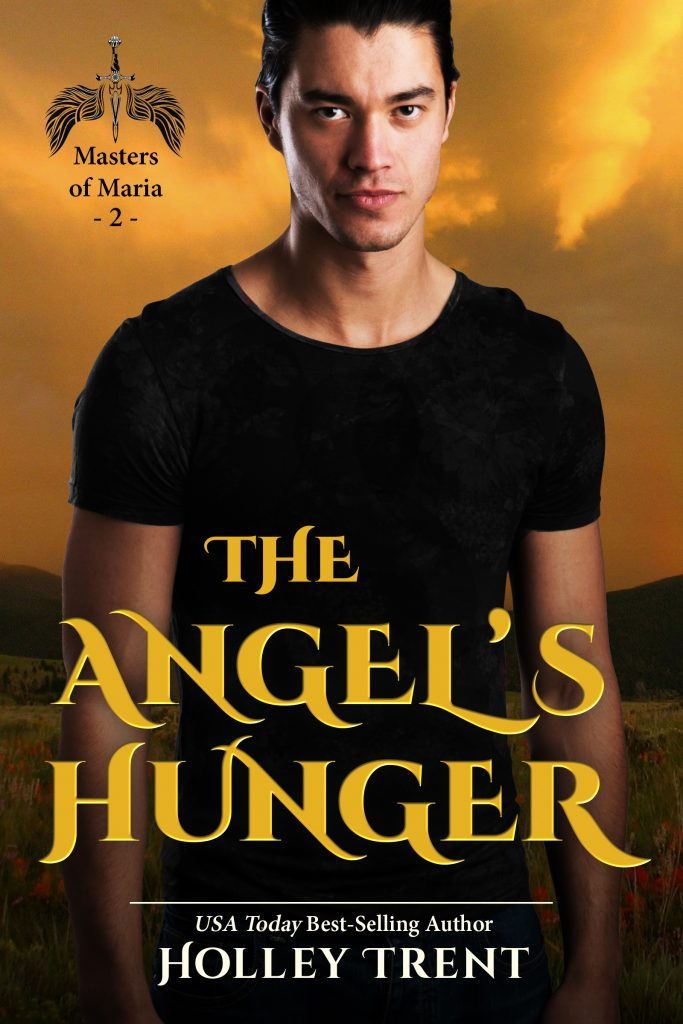 The Angel's Hunger paranormal fantasy romance cover features sultry Asian man in black shirt against a yellow sky desert background