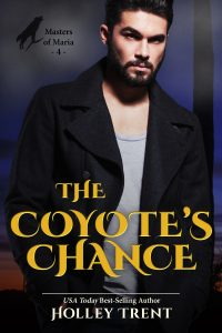 The Coyote's Chance cover broody dark haired man in black jacket over dark desert expanse