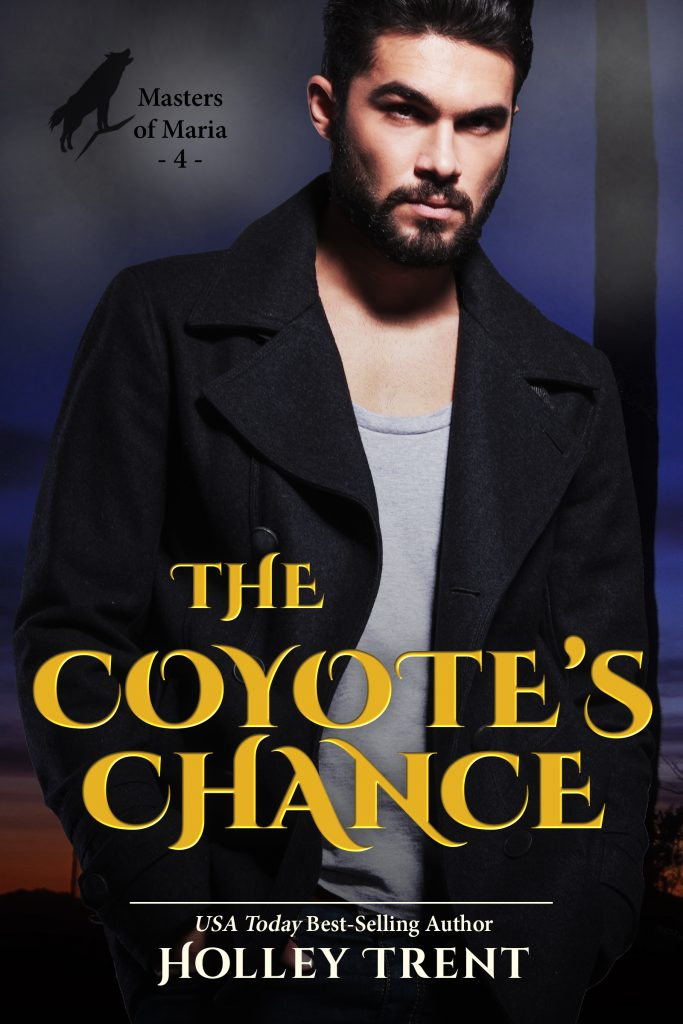 The Coyote's Chance cover broody dark haired man in black jacket over dark desert espanse