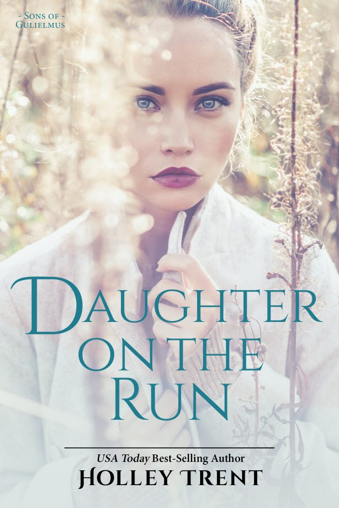Daughter on the Run cover features blonde woman seated in dry field giving intense look